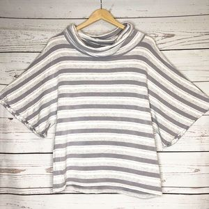 Lou & Grey Cowl Neck, Gray and White Striped Top